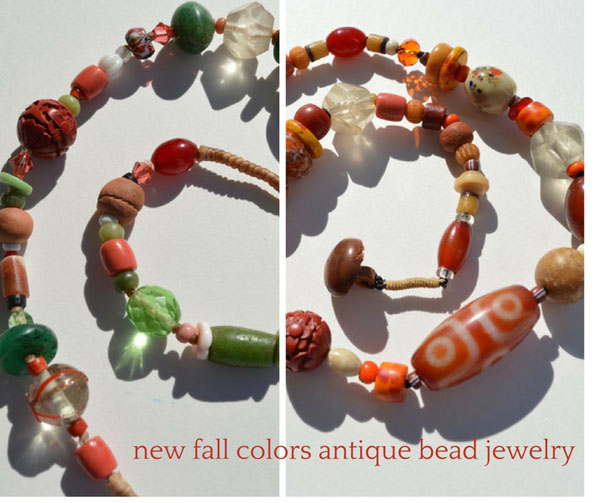 new antique bead necklaces in fall colors, Kathleen O'Brien Studio