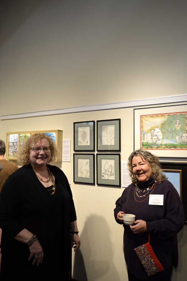 """Curator Gwen Heffner and I by my """"Abraham Lincoln's Kentucky"""" and """"Pleasant Hill Botanicals"""" at """"225: Artists Celebrate Kentucky's History"""" reception: photo, Greg Orth"""