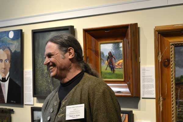 "Mark Selter with his oil paintings at ""225: Artists Celebrate Kentucky's History"" reception: photo, Greg Orth"