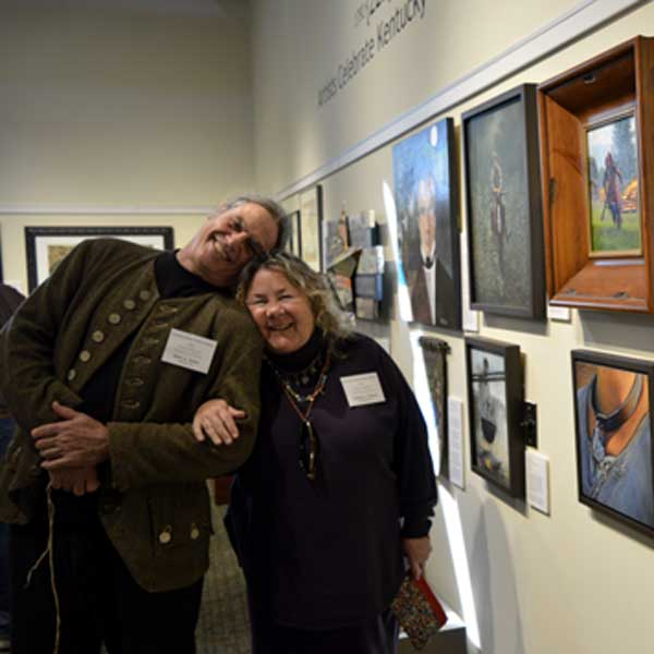 "Me and buddy Mark Selter near our art at ""225: Artists Celebrate Kentucky's History"" reception: photo, Greg Orth"