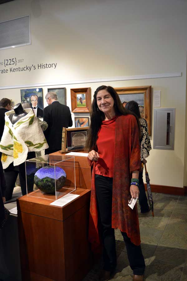 """Renowned bead artist, Linda Fifield with her """"Hills of Home"""" at """"225: Artists Celebrate Kentucky's History"""" reception: photo, Greg Orth"""