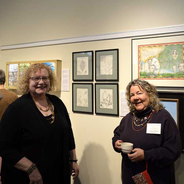 "Curator Gwen Heffner and I by my ""Abraham Lincoln's Kentucky"" and ""Pleasant Hill Botanicals"" at ""225: Artists Celebrate Kentucky's History"" reception: photo, Greg Orth"