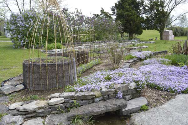 East gardens with Chocolate Cake beds at Sunwise Farm and Sanctuary