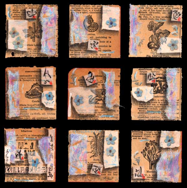 """""""Magic Square of Words"""", 10 x10"""", collage by Kathleen O'Brien"""