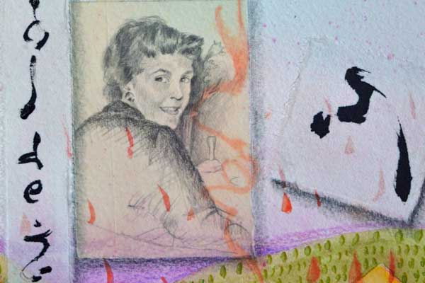 """""""6, Virgo, Atlas of the Year"""", detail of watercolor, drawing of Pat O'Brien, collage by Kathleen O'Brien, 22x15"""""""