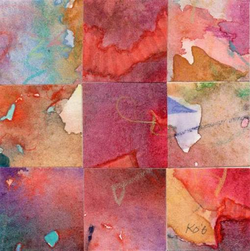 """""""09 Paintings 01"""", watercolor collage, 3x3"""" by Kathleen O'Brien"""