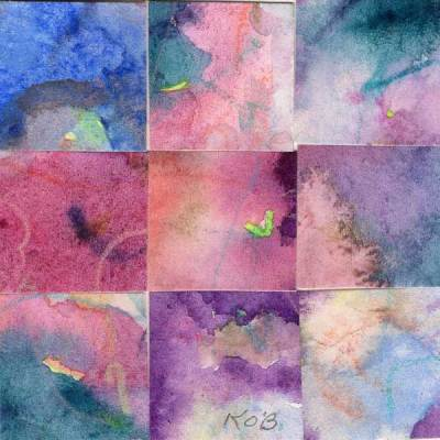 """09 Paintings 05"", watercolor collage, 3x3"" by Kathleen O'Brien"