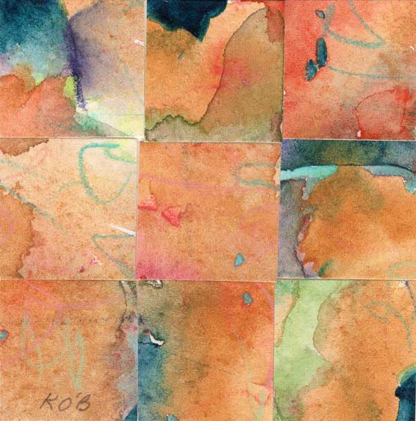 """""""09 Paintings 09"""", watercolor collage, 3x3"""" by Kathleen O'Brien"""