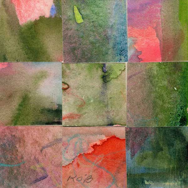 """""""09 Paintings 10"""", watercolor collage, 3x3"""" by Kathleen O'Brien"""