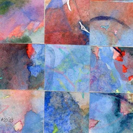 """09 Paintings 14"", watercolor collage, 3x3"" by Kathleen O'Brien"