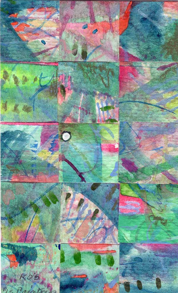 """""""15 Paintings 02"""", watercolor collage,5x3"""" by Kathleen O'Brien"""