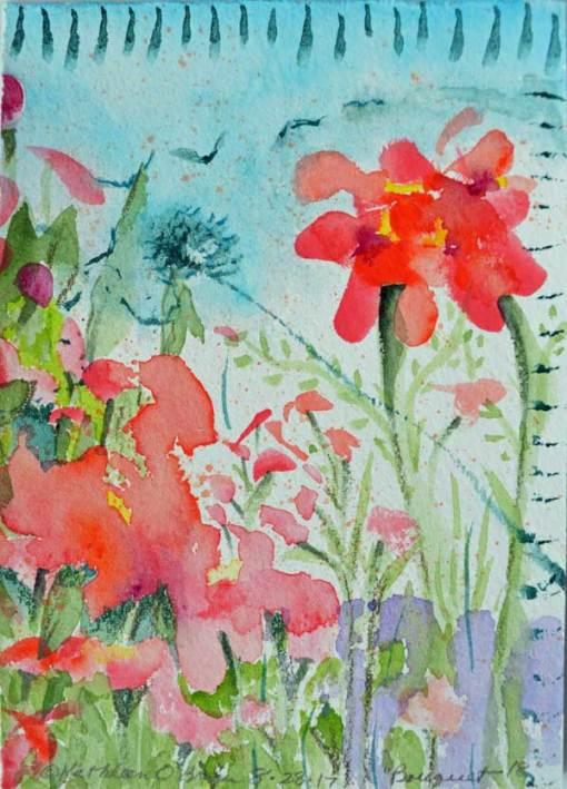 """Bouquet 18"", watercolor by Kathleen O'Brien, 6x4.5"""