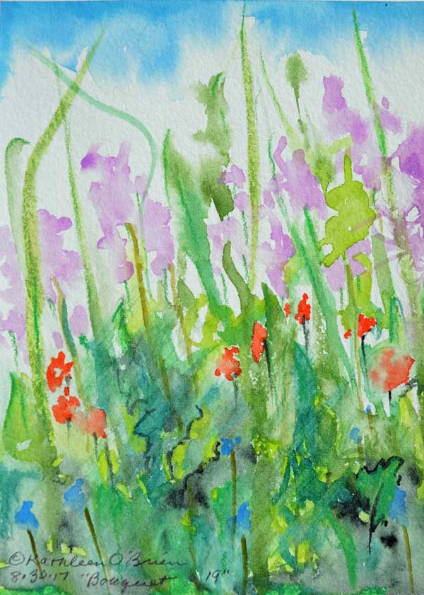 """Bouquet 19"", watercolor by Kathleen O'Brien, 6x4.5"""