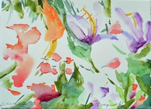 """Bouquet 21"", watercolor by Kathleen O'Brien, 4.5x6"""
