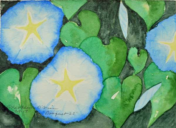 "Bouquet 22, watercolor by Kathleen O'Brien, 9x12"""