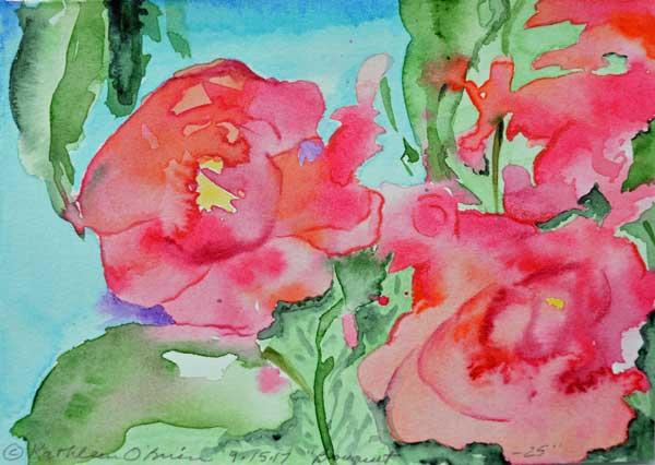 """Bouquet 25"", watercolor by Kathleen O'Brien, 4.5x6"""