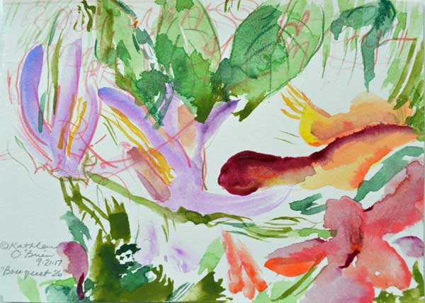"""Bouquet 26"", watercolor by Kathleen O'Brien, 4.5x6"""