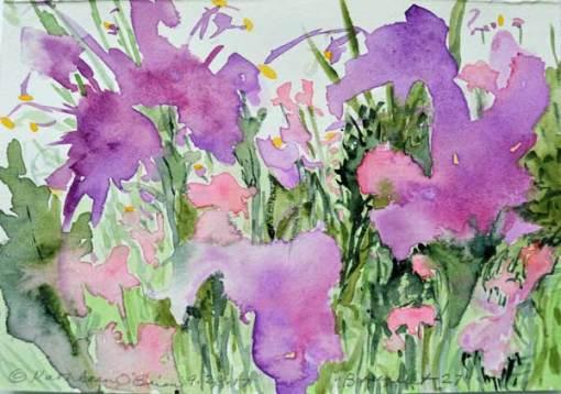"""Bouquet 27"", watercolor by Kathleen O'Brien, 4.5x6"""
