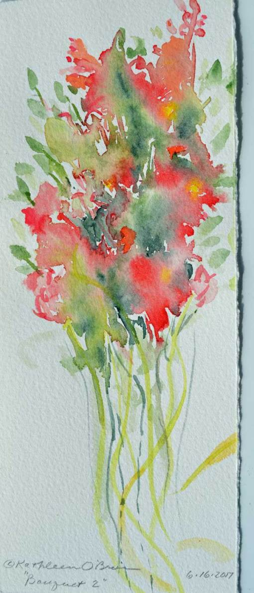 """Bouquet 02"", watercolor by Kathleen O'Brien, 8.5x3.5"""