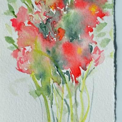 """Bouquet 02"", watercolor by Kathleen O'Brien, 8.5x3.5"""