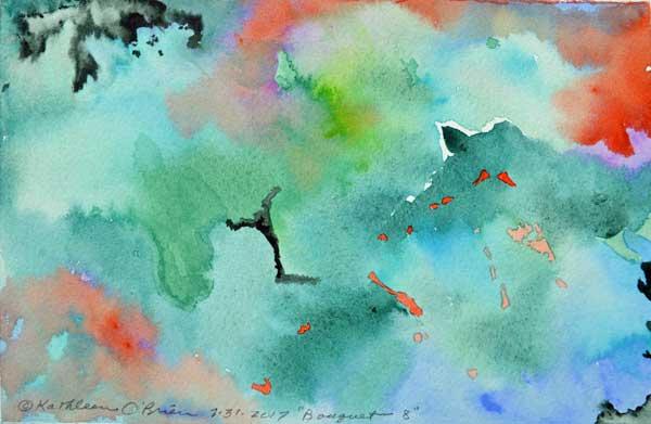 """Bouquet 08"", watercolor by Kathleen O'Brien, 6x9"""