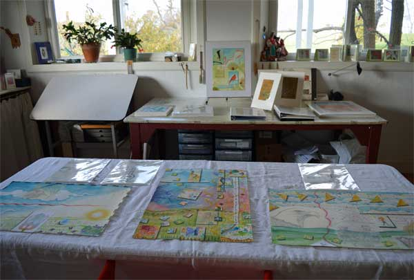 """""""1,2 and 3,Spring/East Atlas of the Year"""", 22x15"""", and drawings at ARTTOUR display by Kathleen O'Brien"""