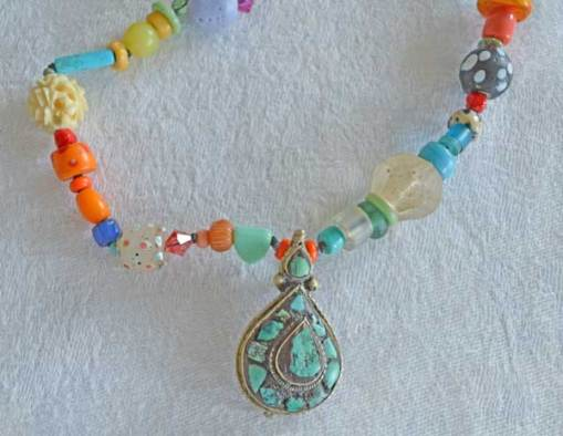 Talisman for Power, necklace with antique Tibetan Turquoise by Kathleen O'Brien