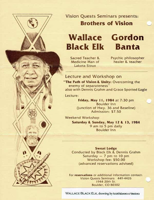 Workshop Gathering with Grandfather Wallace Black Elk, 1984, flier with drawings by Kathleen O'Brien