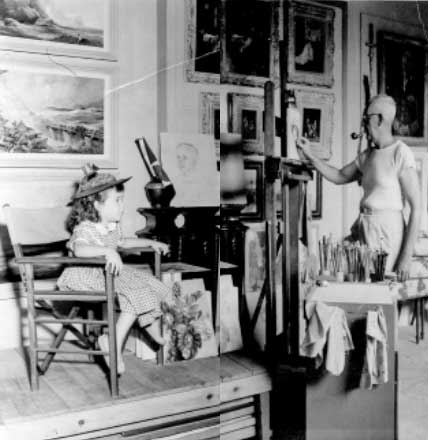 Grandpa painting me at his easel, 1956