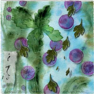 "© Kathleen O'Brien, ""4 Seasons-Autumn, Mum"", watercolor, drawing, collage, 8x8"""