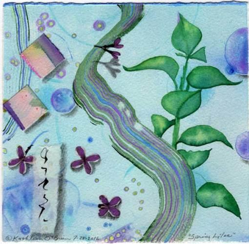 "© Kathleen O'Brien, ""4 Seasons-Spring, Lilac"", watercolor, drawing, collage, 8x8"""