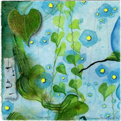 "© Kathleen O'Brien, ""4 Seasons-Summer, Morning Glory"", watercolor, drawing, collage, 8x8"""