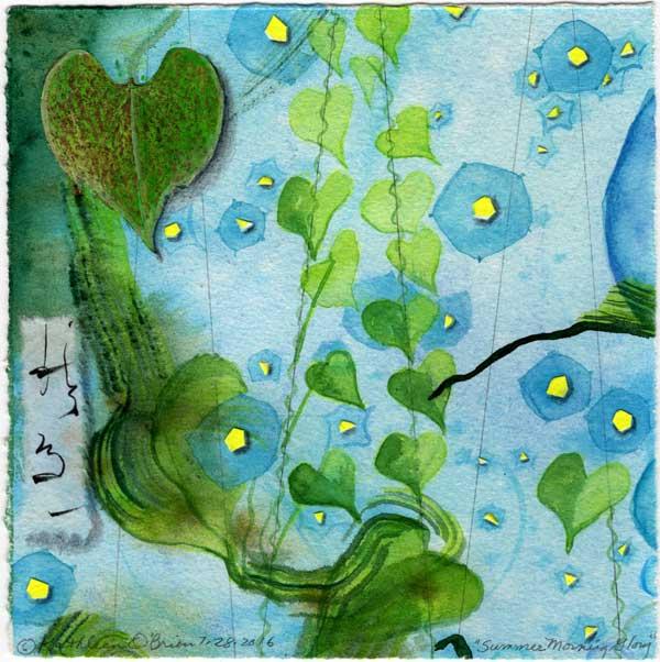 "© Kathleen O'Brien, ""4 Seasons-Summer, Morning Glory"", watercolor, drawing, collage, 8x8"""