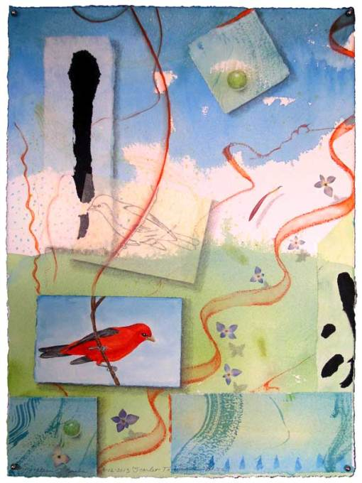 """© Kathleen O'Brien, """"Bird Bliss, Scarlet Tanager"""", watercolor, drawing, collage, 15x11"""""""