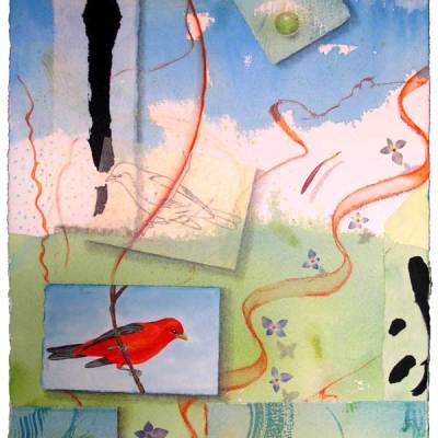 "© Kathleen O'Brien, ""Bird Bliss, Scarlet Tanager"", watercolor, drawing, collage, 15x11"""