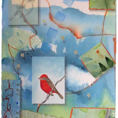"""© Kathleen O'Brien, """"Bird Bliss, Vermilion Flycatcher"""", watercolor, drawing, collage, 15x11"""""""