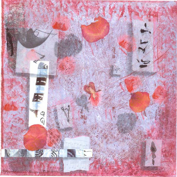 "© Kathleen O'Brien, ""Requiem, Sanctus"", watercolor, drawing, rose petals, collage on paste paper, 2002"