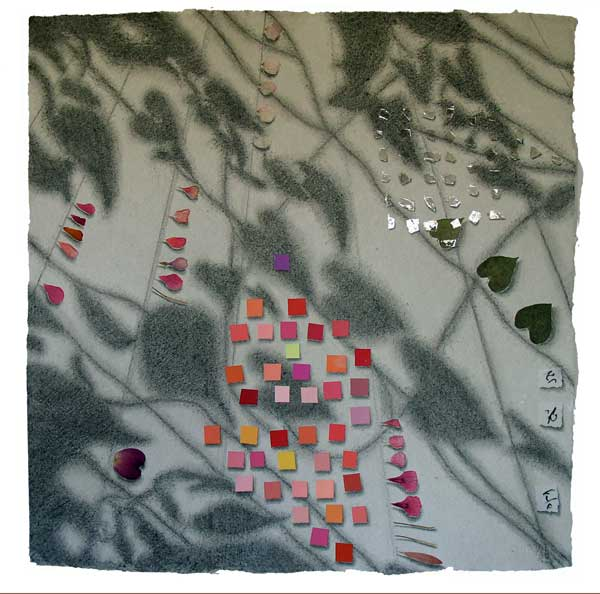 "© Kathleen O'Brien, ""Memories of Summer, 1"", drawing, mica, petals, paint chips, collage, 2008"