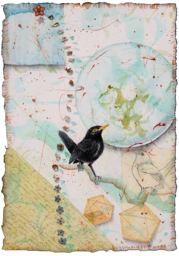 "© Kathleen O'Brien, ""Blackbird Fly into the Light of the Dark Black Night, for J. Lennon"", watercolor, drawing, petals, collage, 2010"