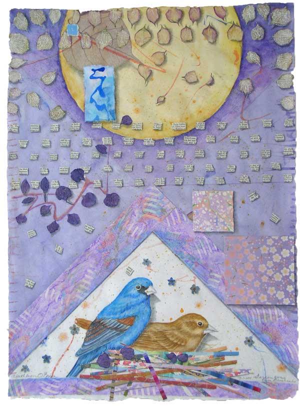 "© Kathleen O'Brien, ""Garden for Blue Grossbeaks"", watercolor, drawing, petals, collage, 2011"