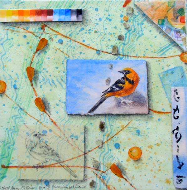 """© Kathleen O'Brien, """"Garden for Oriole"""", watercolor, drawing, petals, mica, collage, 2012, private collection"""