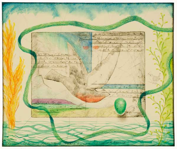 """© Kathleen O'Brien, collaboration with Leslie Marx, """"4 Elements Around_"""", print, watercolor, drawing, petals, collage, 2014"""