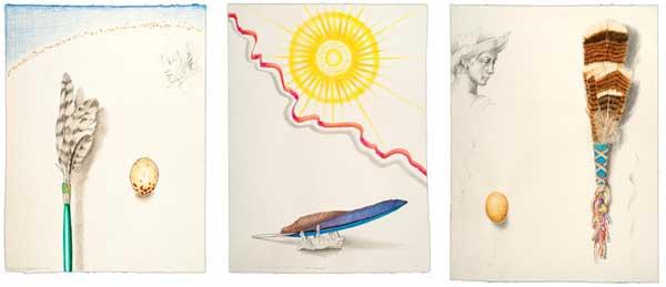 "© Kathleen O'Brien, ""Hawk Prayer Stick, Sun Worship and Turkey Fan"", drawings, 2014, purchase by UK Healthcare"