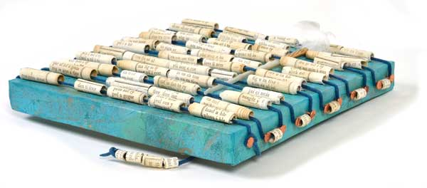 """© Kathleen O'Brien, """"Talisman for Writers"""", acrylic, paper beads, 2015"""