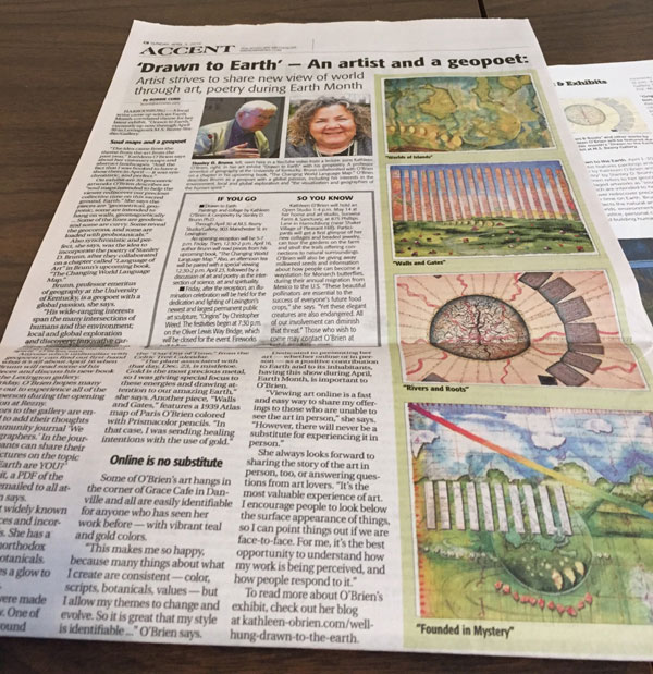 """Drawn to the Earth"" feature article in Advocate Messenger, Bobbie Curd, 2016"