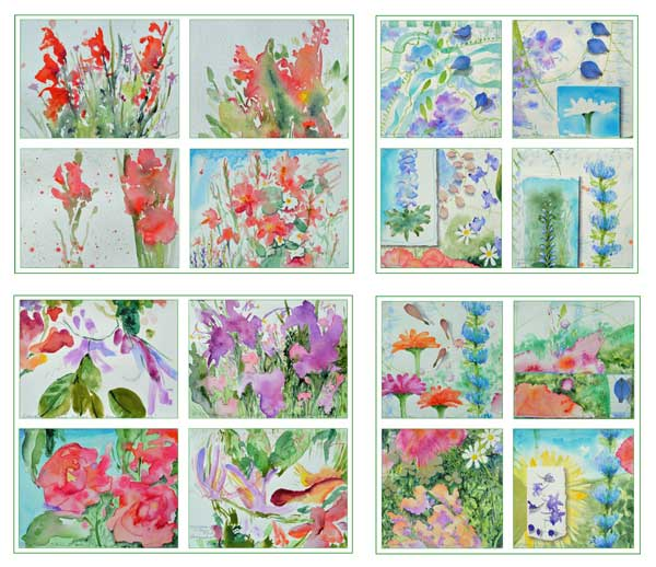 "© Kathleen O'Brien, ""Bouguet series"", 16 cards, watercolor, drawing, petals, collage, 2017"