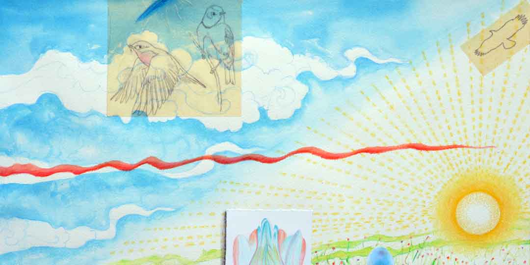 Atlas of the Year 1, detail of watercolor, drawing collage by Kathleen O'Brien