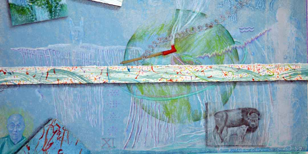 Atlas of the Year 11, detail of watercolor, drawing collage by Kathleen