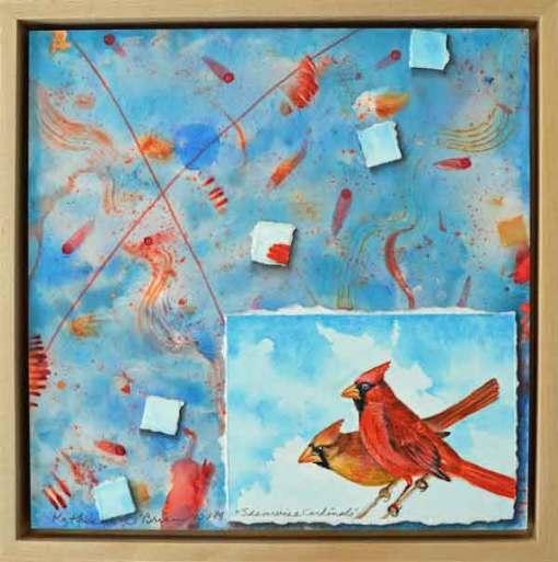 32 Sunwise Cardinals, ©Kathleen O'Brien, Framed panel