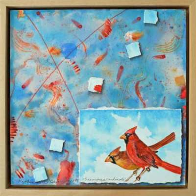 32 Sunwise Cardinals, ©Kathleen O'Brien, Framed panel